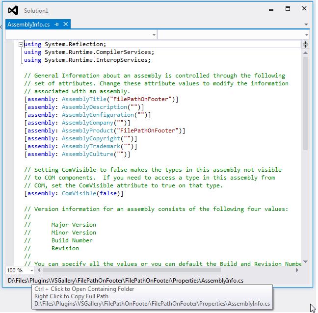 File Path On Footer - Visual Studio Marketplace